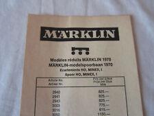 Märklin Preisliste Prix Courant Prijslijst 1970 Belgien Belgique Minex Händler