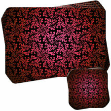 Elegant Floral Wallpaper - Red Set of 4 Placemats and Coasters