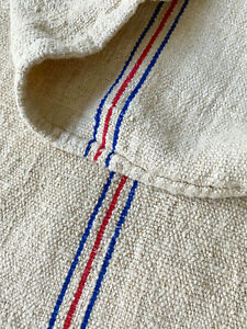 Antique Linen Grainsack 1930 Red Blue Stripe Organic Hemp Linen Grain Sack