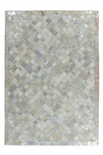Tapis 100% CUIR POIL RAS fait main gris / argent Pixel 80x150 cm