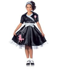 50's Style Poodle Dress Child 4 Pc Blk Dress Shrug Belt & Headband Costume Sm