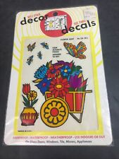 Vintage Self Stick Decor See Thru Decals Flower Butterfly New 1973 Shelley Co.
