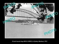 OLD LARGE HISTORIC PHOTO OF FRENCH NAVY SLOOP BELLATRIX IN SYDNEY c1932