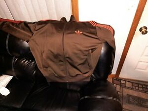 VTG 80s Adidas  Brown Track Suit Zip Up ONLY. BROWN Size XXL, with 3 red stripes