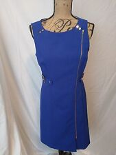 Calvin Klein Women's Sleeveless Blue Sheath Career Dress 10 Knee Length, Zipper