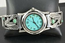 Carol Felley Sterling Silver Turquoise Eagle Watch Tips w/ Sterling Silver Watch