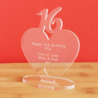 16th Birthday Personalised Milestone Heart Keepsake Gift for Boy Girl Teenager
