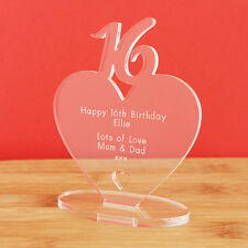 16th Birthday Personalised Milestone Heart Keepsake Gift for Boy Girl Teenager