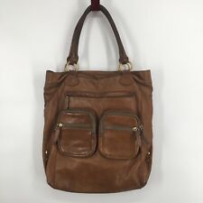 J Crew Jericho Large Saddle Distressed Leather Pocket Tote Shopper Bag Caramel