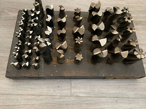 Job lot of 60 end mills, slot drills milling cutters in a block