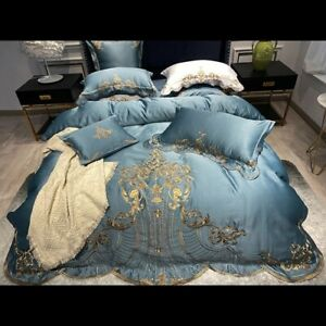 2021 Soft satin, silk, cotton and gold embroidery European court bedding kit