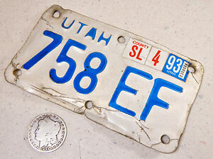 UTAH MOTORCYCLE LICENSE PLATE 758 EF