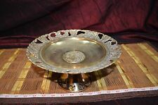 """Solid Brass Pedestal Stand with Grapes and Leaf Design 9 1/2""""x4 3/4"""""""