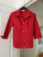 Fenn Wright Manson Red Fitted Blouse, 3/4 Sleeves, Collared, Size 14