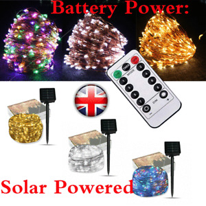 XMAS LED Solar or Battery String Lights Copper Wire Fairy Outdoor Garden Party