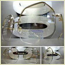New OVERSIZE VINTAGE Style EYE GLASSES Gold Octagon Frame Clear Lens Slight Tint