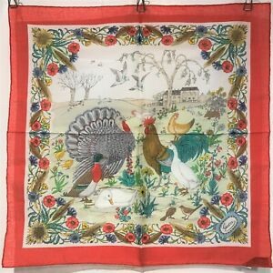 SPECIAL PRICE! Beautiful GUCCI MINI Scarf COTTON 100% 18in Italy White Red Bird