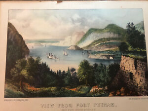 Antique CURRIER & IVES View from Fort Putnam WEST POINT Hudson River LITHOGRAPH