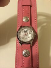 Marc Ecko Non Stop Pink Watch Ladies Womens Leather Band Wristwatch E65001L3