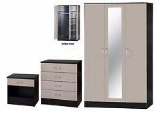 Gloss Grey & Black 3 Piece Bedroom Set 3 Door Mirrored Wardrobe Chest Bedside