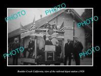 OLD LARGE HISTORIC PHOTO OF BOULDER CREEK CALIFORNIA, THE RAILROAD DEPOT c1920