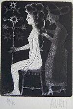 AVATI. Manière noire originale signée et numérotée 41/70, carte de vœux , envoi