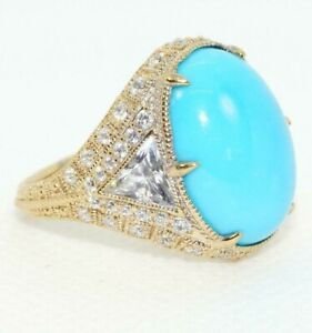 Judith Ripka 925 St Silver Gold plated Sleeping Beauty Turquoise CZ Ring Size 9