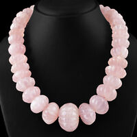 1371.00 CTS NATURAL RICH PINK ROSE QUARTZ ROUND CARVED BEADS NECKLACE STRAND