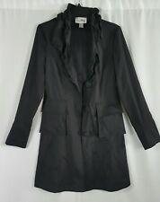 Joseph Ribkoff Black Stretch Taffeta Ruffled Collar Coat Long Pockets Size 8