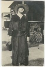 Young Woman with Big Hat & Black Dress with Giant Sash 1900s Vintage Snapshot