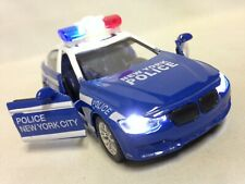 "Police Car With Light, Sound 5.5"" Die Cast Pull Back Boys Girls Toy Blue/White"