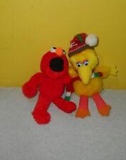 "Applause Sesame Street Big Bird Small 8"" Christmas Stuffed Animal Plush w/ Elmo"