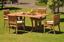 Dsgv Grade-A Teak 5 pc Dining 69 Console Rectangle Table Arm Chair Set Outdoor
