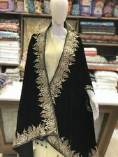 Black Velvet Cape, Royal Kashmir Orni, Shawl, Black Velvet Embroidered Stole