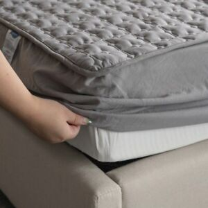 Mattress Bed Cover Topper Washable Queen Size Embossed Protector Solid Quilted
