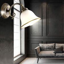 Wand Leuchte Altmessing Antik Stil Beleuchtung Wohn Zimmer Glas Lampe satiniert