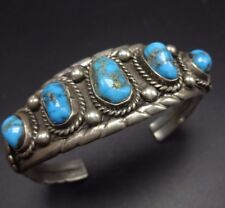 Classic Vintage NAVAJO Sterling Silver & MORENCI TURQUOISE Cuff BRACELET 36g