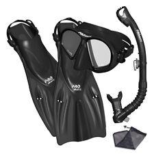 Promate Adult Snorkeling Diving Mask Fins Dry Snorkel Mesh Bag Gear Set Blk L/Xl