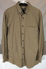 Woolrich Chamois Cloth Long Sleeve Button Down Shirt Men's M Roomy Sizing Tan