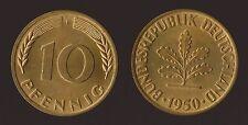 GERMANIA GERMANY 10 PFENNIG 1950 F