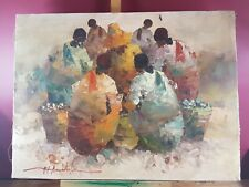 PROBABLY AFRICAN SCENE ABSOLUTELY LOVELY OIL PAINTING INDISTINCTLY SIGNED