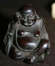 Antique 19c Japanese Rosewood Netsuke of Happy Buddha