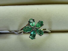 1Ct Natural Zambian Emerald & Topaz Flower Cluster Plat/925 Ring Size T