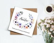 PERSONALISED rustic wedding wild floral wreath Bridesmaid proposal card invite