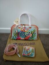 Women's Anuschka Leather Hand Painted 7364- OWL Satchel Handbag & Wallet Purse