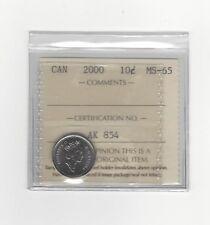 **2000**, ICCS Graded Canadian,  10  Cent, **MS-65**