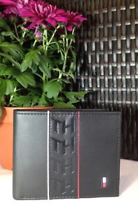 Mens Leather Wallet 'Tommy Hilfiger' Black, Bifold, Card Slots, Coin Pouch