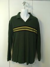 Mens Chaps Ralph Lauren Striped L/S Polo Rugby Shirt Pullover M Green & Yellow