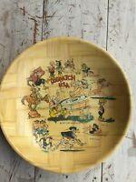 "Vintage 1973 Dogpatch USA old Arkansas theme park large 12"" bamboo bowl 🎢🎢🎡"
