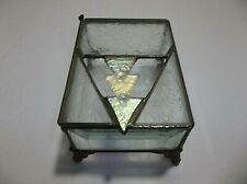 Vintage Art Nouveau Beveled Etched IRIDESCENT Glass Trinket Box